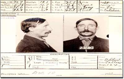 August O'Dourel was arrested for vagrancy in 1913, the card describing the hypo marks on his arm from where he had been injecting diamorphine.                                                                           Bureau Of Identification: Department Of Police, San Francisco<br/>Name: August O'Dourel or O'Doul<br/>Color: White<br/>Reg. No. 23180<br/>Alias: Jack Wright or Joe Wilson or Les Patrick<br/>Date of Arrest: Dec. 10 1913<br/>Crime: Vagrant with 23179 (Vagrancy) both arms with hypo marks